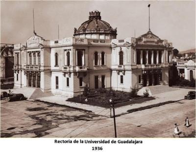 Fachada del Paraninfo de la Universidad de Guadalajara tomada en 1936