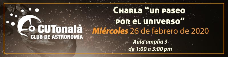"""Charla """"un paseo por el universo"""" 26 de febrero a las 13:00 h en el aula amplia 3"""