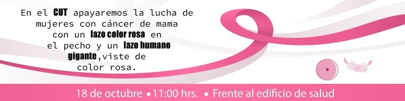 apoyamos la lucha de mujeres con cáncer de mama, este 18 de octubre formaremos un lazo humano  a las 11:00 horas en el edificio de salud, viste de rosa
